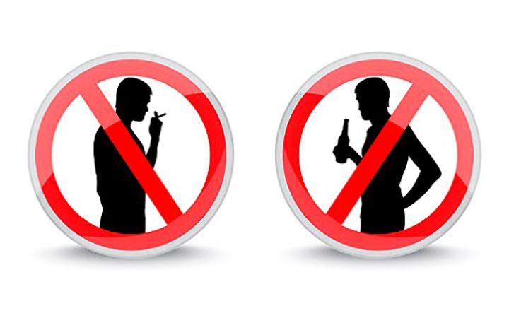 Одна из мер предосторожности отказаться от употребления алкоголя и табакокурения